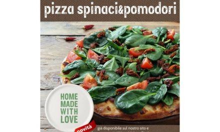 Pizza agli spinaci e pomodorini